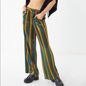 Urban Outfitters Striped Satin Puddle Pants